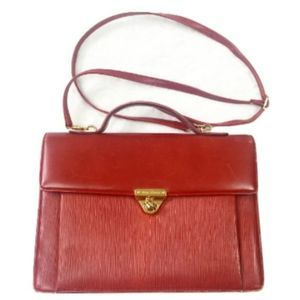 Red Faux Leather Crossbody Satchel Purse
